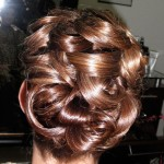 Special Occasion Bridal Hair Up-Do - Bride back. Stylist: Hope