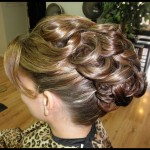 Special Occasion Bridal Hair Up-Do - Bride side. Stylist: Hope