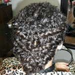 Special Occasion Up-Do - curly braiding back. Stylist: Hope